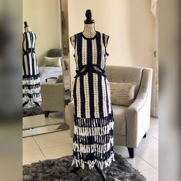be97e5b6db26 Fashion Nova Dresses   Medellin Crochet Dress Navywhite   Poshmark